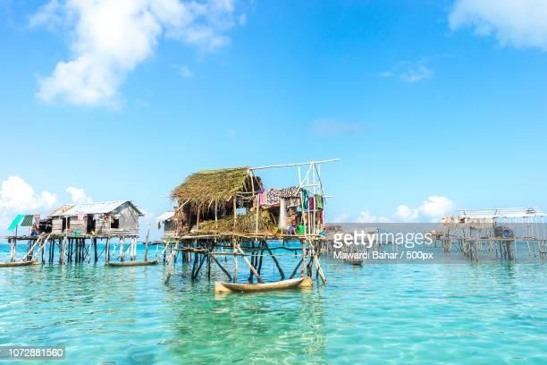 SABAH, MALAYSIA - AUGUST 17, 2015 : Bajau Laut house in Bodgaya Island, Sabah, Malaysia. They lived