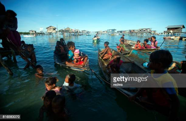 Bajau Sea Gypsies of Borneo on a Boat, Sabah