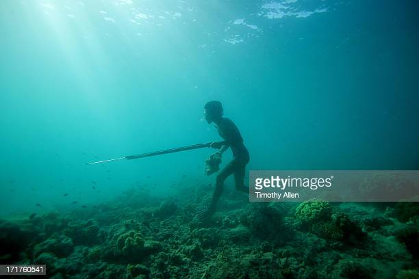 Bajau sea gypsy hunting with harpoon