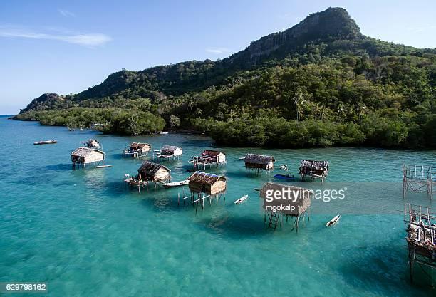 bajau village in tun sakaran national park - island of borneo stock pictures, royalty-free photos & images