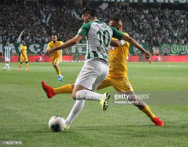 Bajic of Konyaspor in action against Sedat Agcay of MKE Ankaragucu during Turkish Super Lig soccer match between Konyaspor and MKE Ankaragucu at...