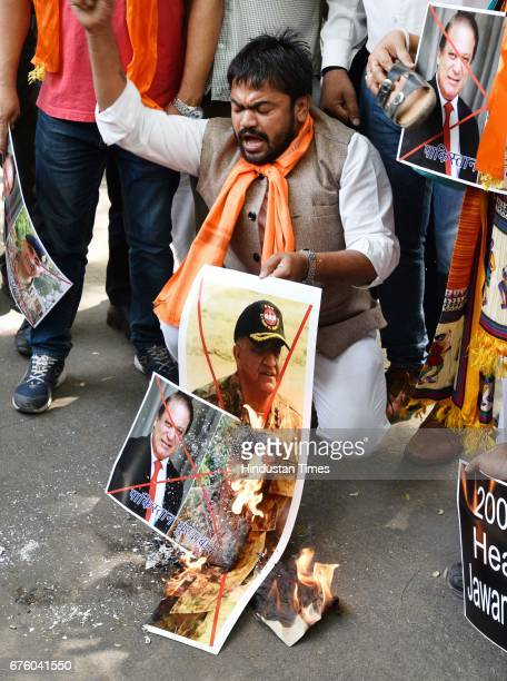Bajrang Dal activists protest against mutilation of two Indian soldiers in Poonch's Krishna Ghati area and antinational activities in Kashmir at...
