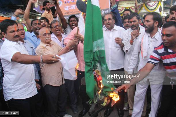 Bajrang Dal workers protest against Pakistan after terrorist attack on Amarnath Yatra in Jammu and Kashmir on July 11 2017 in Mumbai India