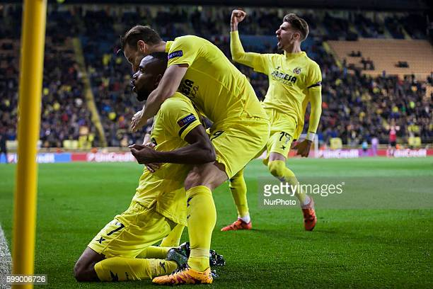 17 Bakambu del Villarreal CF celebrates his goal during UEFA Europa League Round of 16 first legs match between Villarreal CF and Bayer 04 Leverkusen...