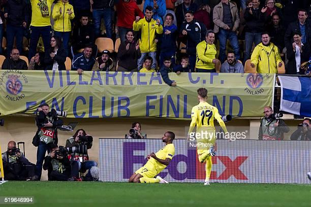 17 Bakambu del Villarreal CF celebrates his goal during UEFA Europa League quarterfinals first leg match between Villarreal CF v Sparta Prague at El...