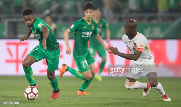 Bakambu of Beijing Guoan in action during 2018 China Super League match between Beijing Guoan and Guizhou Hengfeng Zhicheng at Beijing Workers...