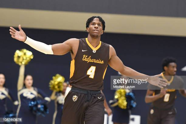 Bakari Evelyn of the Valparaiso Crusaders celebrates a basket during a college basketball game against the George Washington Colonials at the Smith...