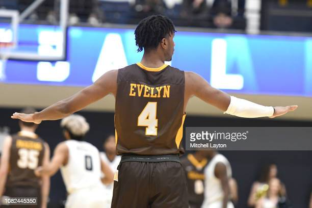Bakari Evelyn of the Valparaiso Crusaders looks on during a college basketball game against the George Washington Colonials at the Smith Center on...