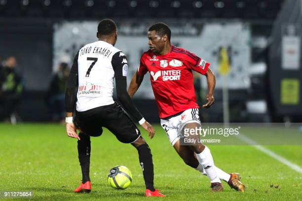 Bakary Dibassy of Amiens during the Ligue 1 match between Angers SCO and Amiens SC at Stade Raymond Kopa on January 27 2018 in Angers