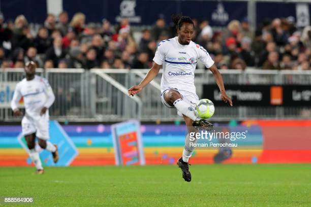 Bakary Kone of Strasbourg action during the Ligue 1 match between FC Girondins de Bordeaux and Strasbourg at Stade Matmut Atlantique on December 8...
