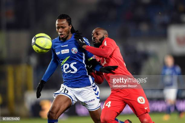 Bakary Kone of Strasbourg and Giovanni Sio during the Ligue 1 match between Strasbourg and Montpellier at on February 23 2018 in Strasbourg