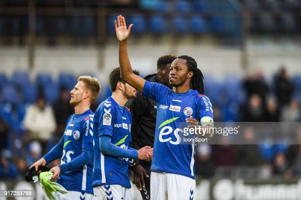 Bakary Kone of Strasbourg celebrates the win during the Ligue 1 match between Strasbourg and Troyes AC at on February 11 2018 in Strasbourg