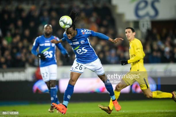 Bakary Kone of Strasbourg during the Ligue 1 match between Strasbourg and Paris Saint Germain at La Meinau Stadium on December 2 2017 in Strasbourg