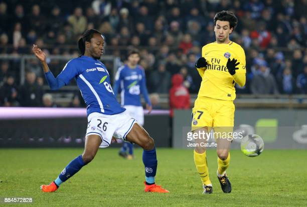 Bakary Kone of Strasbourg Javier Pastore of PSG during the French Ligue 1 match between RC Strasbourg Alsace and Paris Saint Germain at Stade de la...