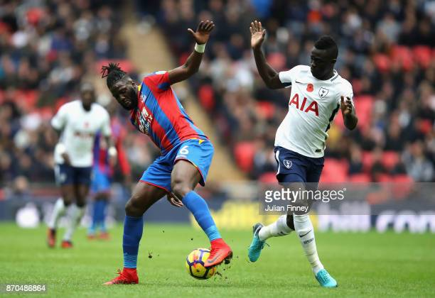 Bakary Sako of Crystal Palace and Davinson Sanchez of Tottenham Hotspur battle for possession during the Premier League match between Tottenham...