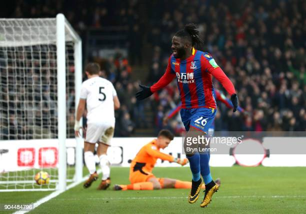 Bakary Sako of Crystal Palace celebrates after scoring his sides first goal during the Premier League match between Crystal Palace and Burnley at...