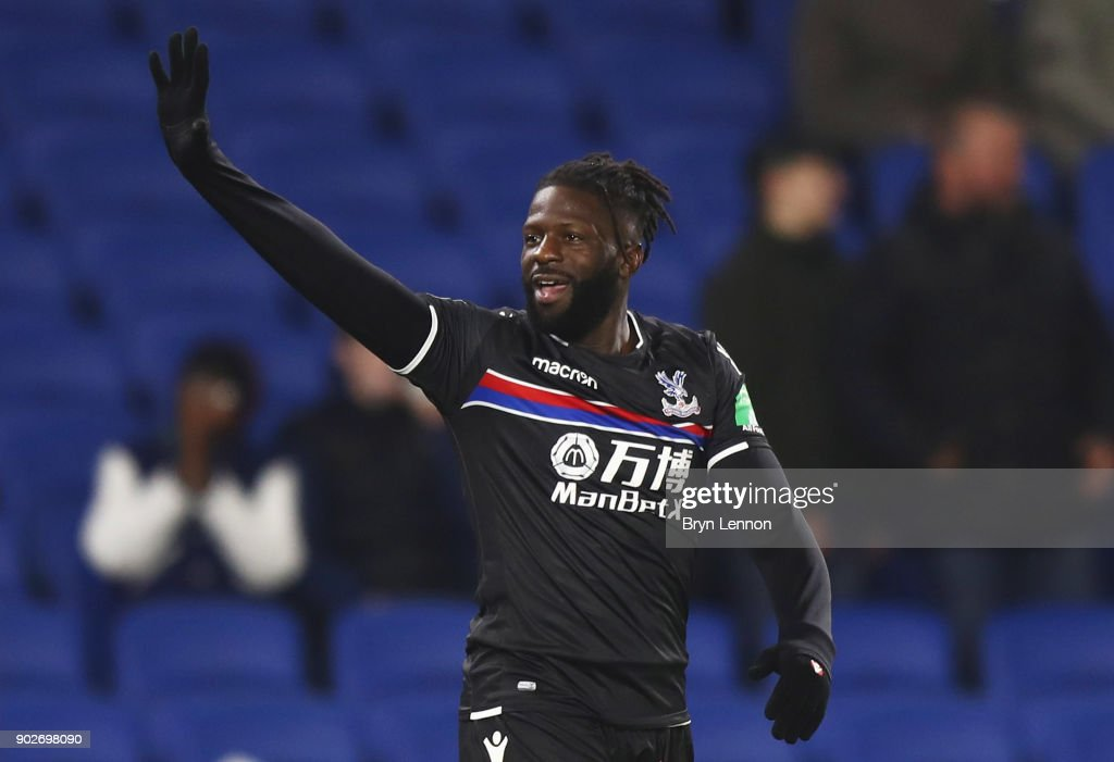 Bakary Sako of Crystal Palace celebrates as he scores their first goal and equalising goal during The Emirates FA Cup Third Round match between Brighton & Hove Albion and Crystal Palace at Amex Stadium on January 8, 2018 in Brighton, England.