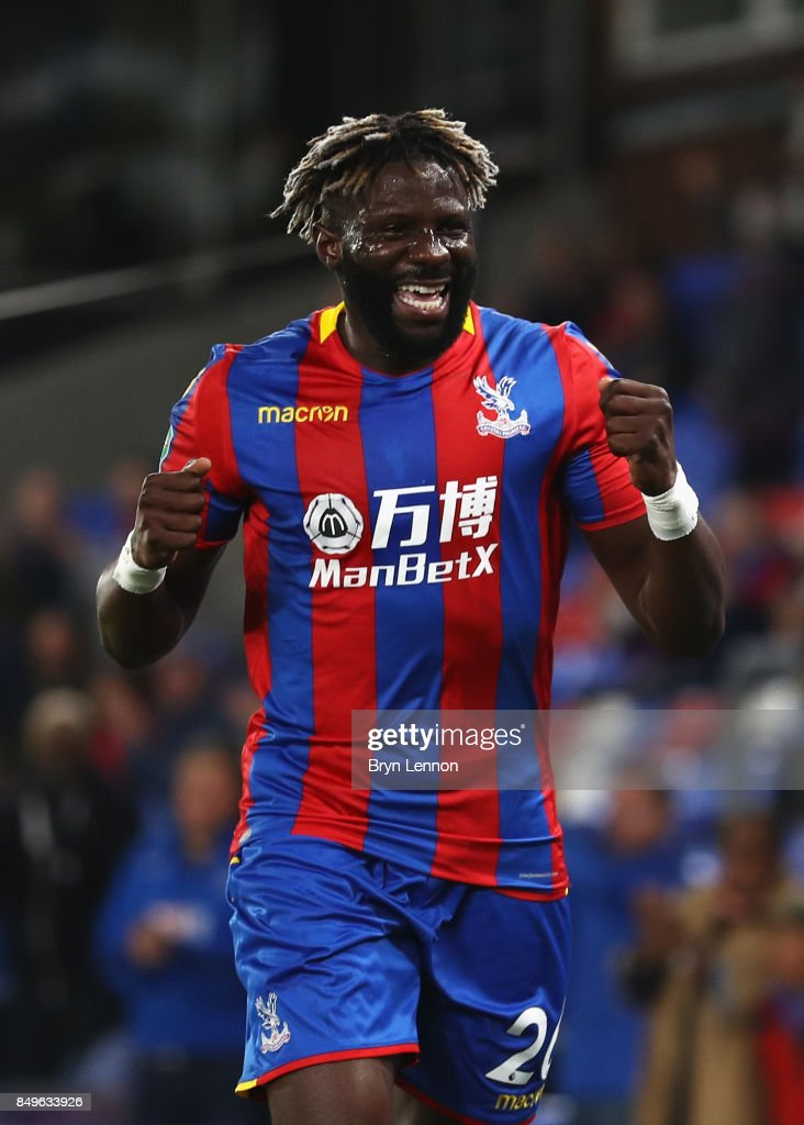 Bakary Sako of Crystal Palace celebrates scoring his sides first goal during the Carabao Cup Third Round match between Crystal Palace and Huddersfield Town at Selhurst Park on September 19, 2017 in London, England.