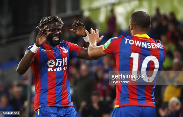Bakary Sako of Crystal Palace celebrates scoring his sides first goal with Andros Townsend of Crystal Palace during the Carabao Cup Third Round match...