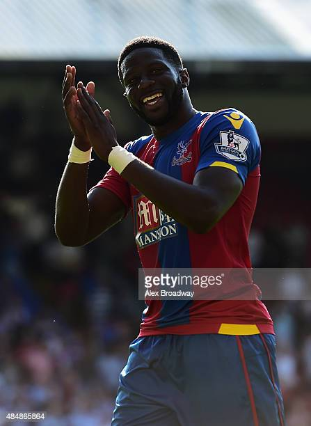 Bakary Sako of Crystal Palace celebrates scoring his team's second goal during the Barclays Premier League match between Crystal Palace and Aston...