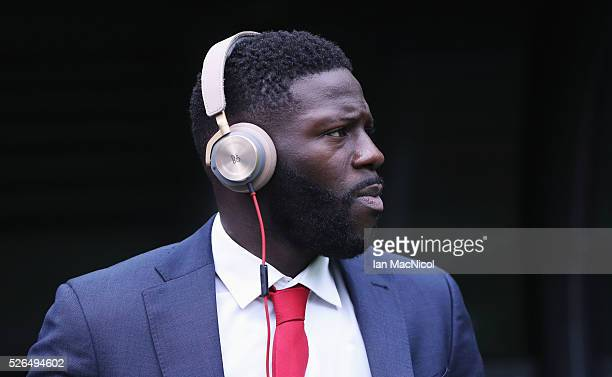 Bakary Sako of Crystal Palace is seen on arrival at the stadium prior to the Barclays Premier League match between Newcastle United and Crystal...
