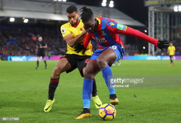 Bakary Sako of Crystal Palace protects the ball from Adrian Mariappa of Watford during the Premier League match between Crystal Palace and Watford at...