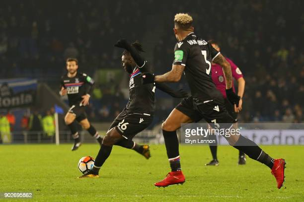 Bakary Sako of Crystal Palace scores their first goal and equalising goal during The Emirates FA Cup Third Round match between Brighton Hove Albion...