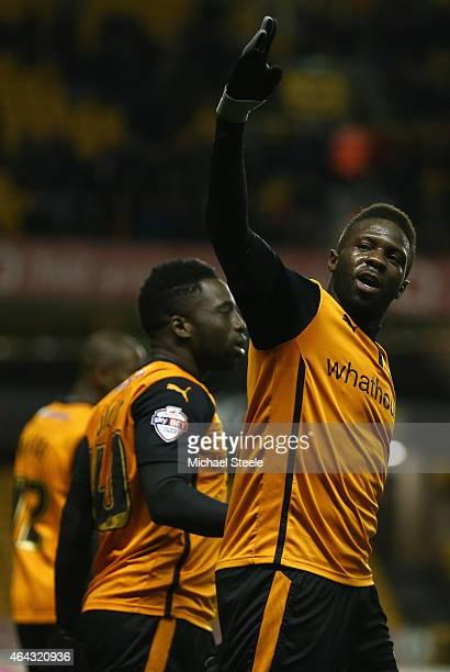 Bakary Sako of Wolverhampton celebrates scoring his sides third goal during the Sky Bet Championship match between Wolverhampton Wanderers and Fulham...