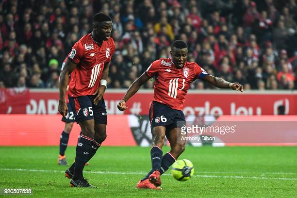 Bakary Soumaoro and Ibrahim Amadou of Lille during the Ligue 1 match between Lille OSC and Olympique Lyonnais at Stade Pierre Mauroy on February 18...
