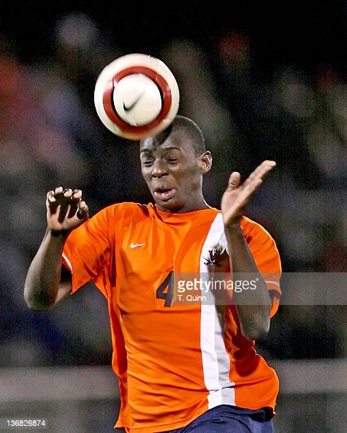 Bakary Soumare heads the ball for Virginia during the 2006 ACC Tournament semifinal match between Wake Forest and Virginia at the Soccerplex in...
