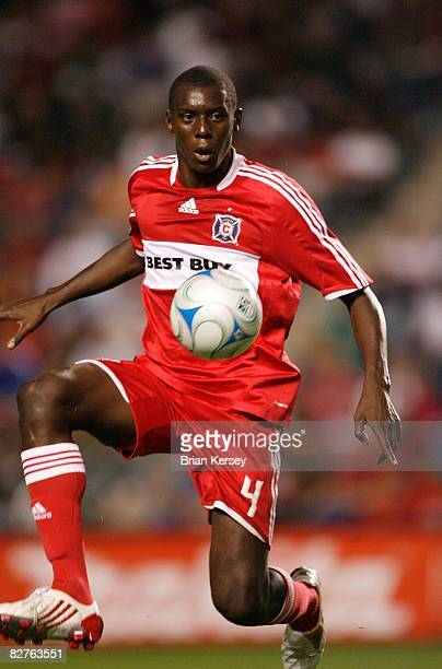 Bakary Soumare of the Chicago Fire kicks the ball against the New York Red Bulls during the first half at Toyota Park on September 6, 2008 in...