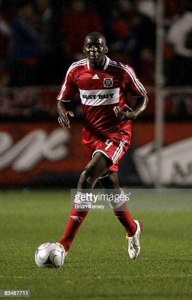 Bakary Soumare of the Chicago Fire moves the ball against the New York Red Bulls during the first half at Toyota Park on October 23, 2008 in...