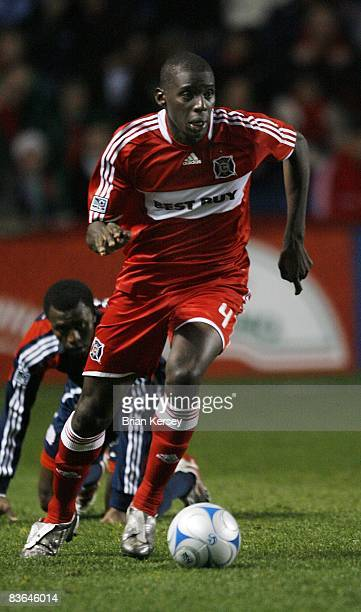 Bakary Soumare of the Chicago Fire moves the ball up the field against the New England Revolution during the first half of the second leg of the MLS...
