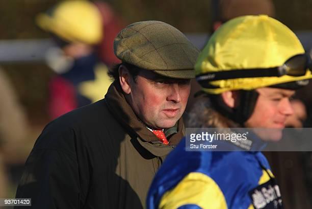 Bakbenscher Trainer Alan King and jockey Robert Thornton look on at Wincanton Racecourse on December 3 2009 in Wincanton England