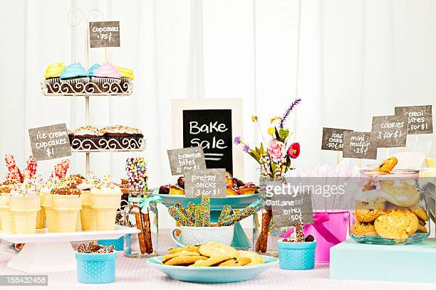 bake sale fundraiser - sale stock photos and pictures