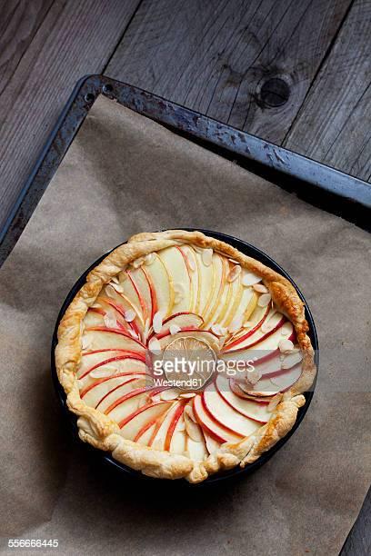 Baked apple pie in cake pan on baking tray