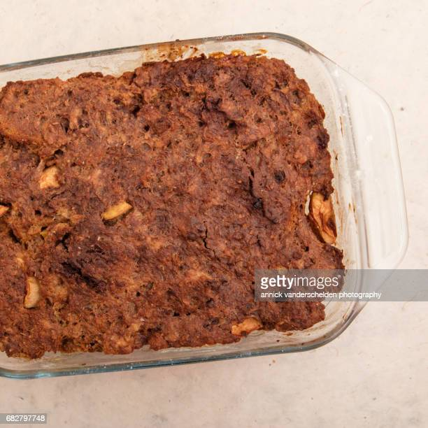 Baked bread pudding.