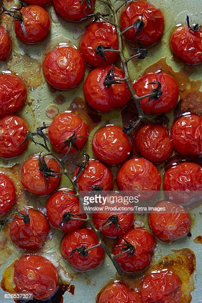 Baked cherry tomatoes with olive oil and salt