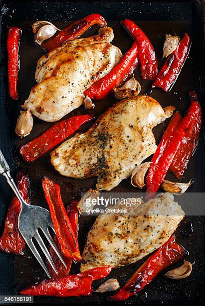 Baked chicken breast with sweet peppers and garlic