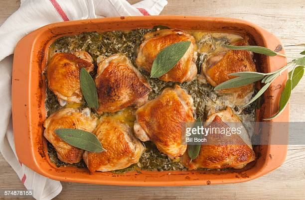 Baked chicken in a spinach cream sauce