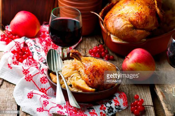Baked duck with cabbage style rustic selective focus