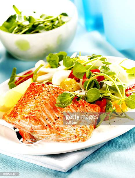 Baked fillet of trout with watercress salad