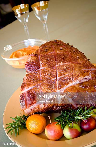 Baked Glazed Christmas Holiday Food, Roasted Pork Ham Meat Dinner