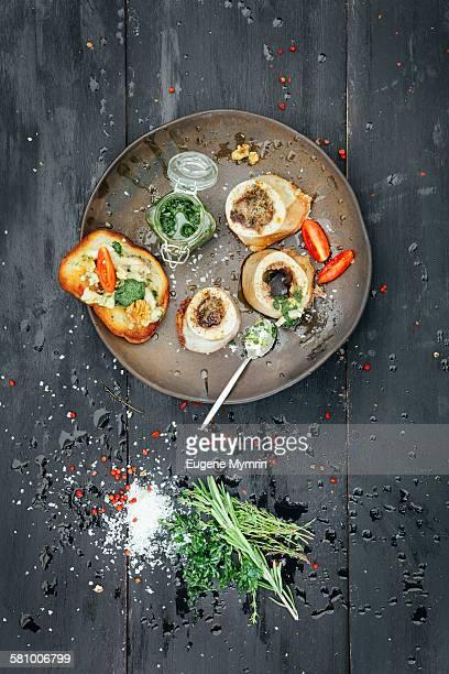 Baked marrow bones with herb sauce