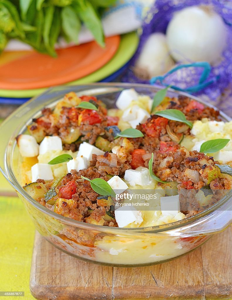 Baked meat and vegetables. : Stock Photo