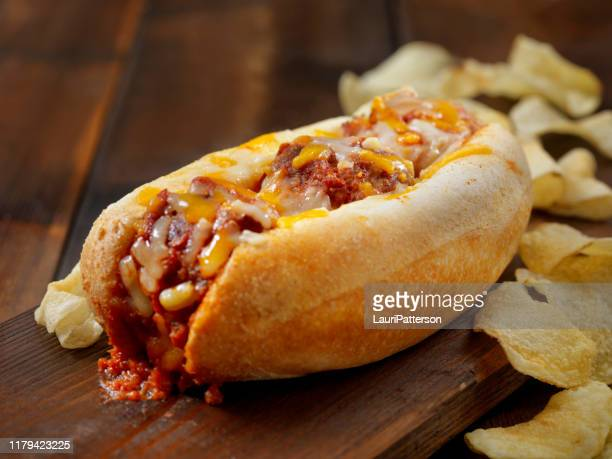 baked meatball sub sandwich with kettle chips - submarine stock pictures, royalty-free photos & images