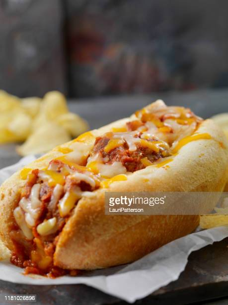 baked meatball sub sandwich with kettle chips - submarine photos stock pictures, royalty-free photos & images