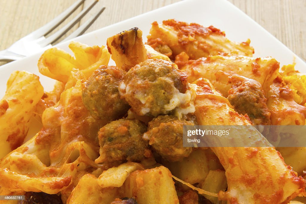 Baked pasta with meatballs : Stock Photo