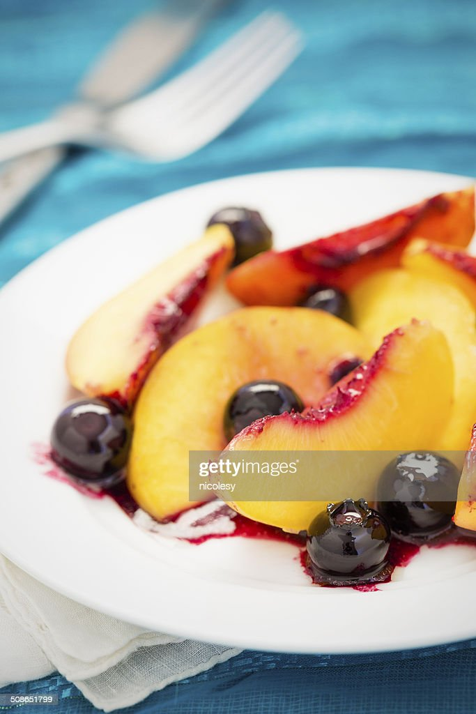 Baked Peaches with Berries : Stock Photo