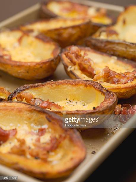 Baked potato skins with bacon, close-up